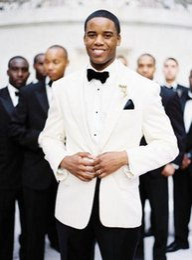 Wholesale custom tuxedos for men white wedding suits for men black pants men suits notched lapel groom wedding suits jacket pants