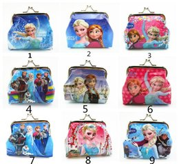 Wholesale 2015 Girls D Cartoon Frozen Sofia Princess Coin Purse with Iron Button Shell Bag Wallet Purses Minions Children Gifts