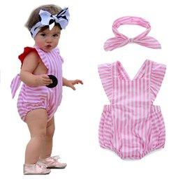 Wholesale 70 cm Summer striped leotard headband Children bandage Newborn cotton bag fart Romper Climb clothes sets R17