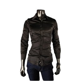 Wholesale FG1509 New Spring Men Shirt Pupolar Casual The Club Real Silk long sleeve Shirt Slim Fit Shirt Men for High Quality Big Size M XXL
