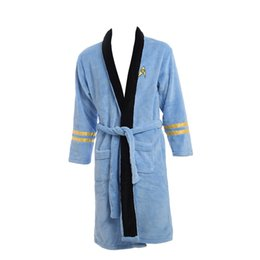 New Star Trek items Spock Light Blue BathRobe Fleece Sleepwear Blue Costume Xmas Birthday Gifts for Men