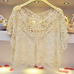 Wholesale Fashion Women Beige Sweet Cute Crochet Lace Loose V neck Batwing Large Blouse Shirt Tops Tees