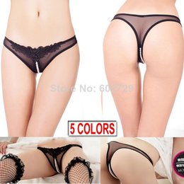 Wholesale Women s Sexy Thongs G string V string Panties Knickers Mesh Lace Underwear Open Crotch with beading colors X9