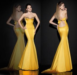 Wholesale Spliced Yellow Satin Sheer Sweetheart Sweep Train Backless Evening Prom Dressess New Spring Series Sleeveless Crystals Bow Free Shiping