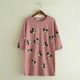 Wholesale 2015 New Cute Mickey Mouse T Shirt Casual Shirt Women Tops Cotton Short Sleeve Tees Cartoon Printed Long T Shirts Free ship