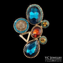 Wholesale Large Rhinestone Brooch Dress Accessories Brooch Pins Colors Gold White Plated Safety Pins Vx Vocheng Jewelry