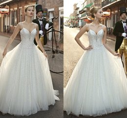 Wholesale Classy Spaghetti Sweetheart Luxury Ball Gown With Rhinestone Sparkling New Fashion Vestidos de Renda Wedding Dresses Bridal Gowns q207