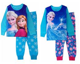 Wholesale New style girls pajamas baby girl frozen clothes elsa anna girl s pajama children sleepwear kids Homewear Loungewear