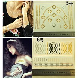 Wholesale 10 Sheets Pack Black Gold Silver Metalic Temporary Tattoos Girls Beauty Jewelry Stickers Necklace Heart Shape Tattoo Fake Tattoo Totem Tats