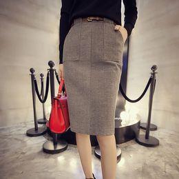 Wholesale 2015 Hitz pocket woolen skirt package hip was thin woolen bust skirt with belt