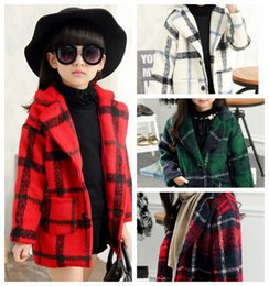 Wholesale Kids Winter Coat Girls Woolen Coat British Girl Kids Jackets Plaid Girls Outwear Long Sleeve Outwears Autumn Clothing for Youth Styles