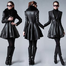 Wholesale 2014 Real Image Cheap Outerwear Coat Black New women fashion fur collar and long Sections Leather Coats Jackets Long Sections LUSH Y