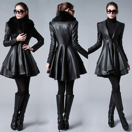 Wholesale Real Image Cheap Outerwear Coat Black New women fashion fur collar and long Sections Leather Coats Jackets Long Sections LUSH Y