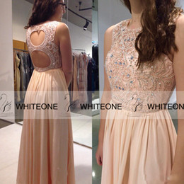 Wholesale 2015 Elegant Open Back Blush Chiffon Long Sequins Prom Dresses For Teens Custom Made Formal Dresses Party Evening Dresses Gowns Plus Size