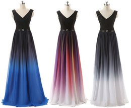 Wholesale 2016 Hot Elie Saab Sash Belt Backless Prom Dresses Formal Gradient Color Fabric Chiffon Pleated Ombre Evening Party Gowns In Stock