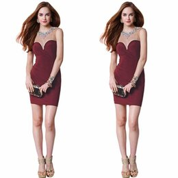 Wholesale New Sheer Neck Fall Cheap Homecoming Dress Burgundy Short Sheath Party Dress Beads Crystals Open Back Formal Prom Ball Gown