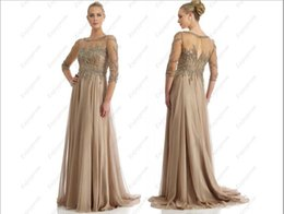 Wholesale 2015 New Hot Sale Champagne Chiffon See Through Half Sleeve Blink Sequins and Beads Cheap A line Mother of the Bride Dresses