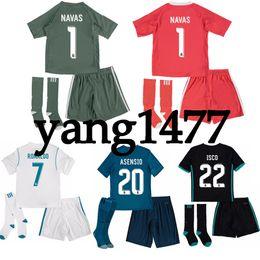 17 18 Real Madrid kids soccer jersey kits youth boys child jerseys kits  2017 2018 RONALDO BALE ISCO RAMOS football shirts third blue cheap bale  youth soccer ... f689683555cd2