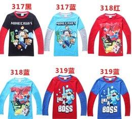 Wholesale Minecraft For Big Boys Tshirts Long Sleeve Cute Cartoon Cotton Tees Kids T Shirt Childs Children Autumn Tops Clothing Outwear J2969
