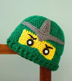 Wholesale Children s Earflap Hat cotton crochet boys hat handmade crochet Ninjago Hat baby Ninja caps