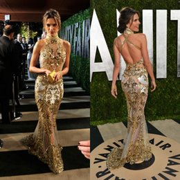 Wholesale 2016 Amazing Luxury Gold Mermaid Evening Dresses Zuhair Muard Gowns Sheer Neck Beaded Sequins Backless Vestidos Celebrity Prom