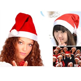 Discount baby adult cap hat Classic Christmas Hat Decorations Ornaments Santa Claus Hats Non-woven Fabrics Caps For Adult Baby Home Holiday Gift Supplies