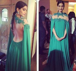 Wholesale 2016 Arabic Evening Dresses Sonam Kapoor Wear With Long Cape High Neck Appliques Illusion Back Modest Green Dubai Prom Party Celebrity Gowns