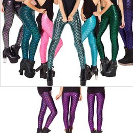 Wholesale 2015 New Fashion Women Sport Leggings Women Sports Pants Bodysuit Pants Sexy Fishing Printed Mermaid Lady Sport Pants Disco