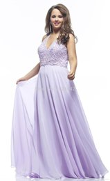Wholesale Sexy Purple Plus Size Evening Dresses A Line Beaded Halter Backless Floor Length Lace Beading Sweep Train Beading Chiffon Plus Siz