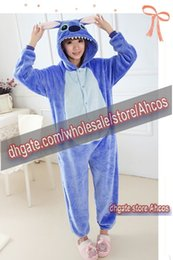 Wholesale Unisex Blue Stitch Coral Fleece Kigurumi Pajama