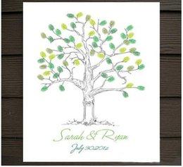Wholesale 30 cm Ornament Wedding Celebrations Canvas Painting Wedding Tree Guestbook Fingerprint Attendance
