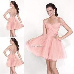 Wholesale Simple Fitted Off the Shoulder Short Prom Gowns Dresses Charming A Line Celebrity Wear Clothing Set Formal Occasion Girls Dresses