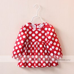 Wholesale Girls Long Sleeve Dot Dress Autumn New Hot Dress Children s fashion Dresses Back Bow Red Blue Dot Clothing lj