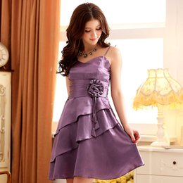 Wholesale Large size women s summer hot preferred elegant lotus leaf Purple Dress Dress