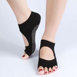 Backless Главная Йога ног Fiver пальцев носки, не нескользкие носки йоги, женский спортивный хлопок спортивные носки ПВХ