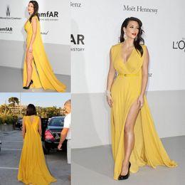 Wholesale 2014 Fashion New Arrival Kim Kardashian Dresses Evening Gowns Yellow Long V Neck Side Split Sash Chiffon Celebrity Dresses Custom Made Size