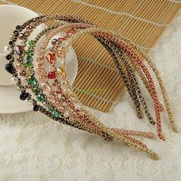 Wholesale ES3051 Korea Style Colorful Irregular Crystal Beads Gold Wire Hairband Headband Hoop
