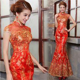 Wholesale Luxury and Elegant Women Lace Silk Slim Chinese Long Cheongsam Dress Improved Red Short Sleeve Bridal Dress