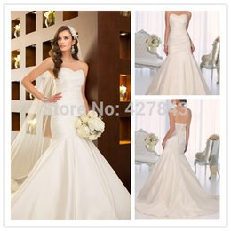Wholesale Customized Simple Sweetheart Ruched Bodice Satin Mermaid Wedding Dress Corset Back vestido de noiva Bridal Wedding Gowns