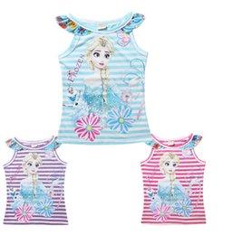 Wholesale 2015 new arrive Hot Kids Summer T shirt Elsa anna tank top Sleeveless Top Tees Baby Girls Floral Vest Tshirt Kids Clothing T D050