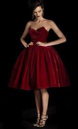 Wholesale chegada nova vestido de cocktail vermelho com querido veludo cintura saia de tecido na saia outono barato vestidos homecoming inverno