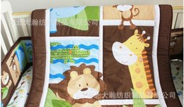 Wholesale Stereo embroidery cotton Baby Quilt Nursery Comforter Cot Crib bedding animal lion giraffe Designs pattern