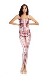 Wholesale 2015 Adult Sexy Bodysuit Elastic Dancer Women Digital Human skeleton Nightclub Locomotive Halloween Cosplay Costumes CSX05