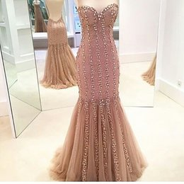 Wholesale Newly Designed Sweetheart Mermaid Evening Dress Tulle Sweep Train Sexy Backless Formal Evening Gowns with Crystals and Beads