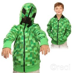 Wholesale 2015 new arrival Retail Creeper Hoodie minecraft Hoodie Creeper Coat Creeper jacket US youth size for kids boys best great quality