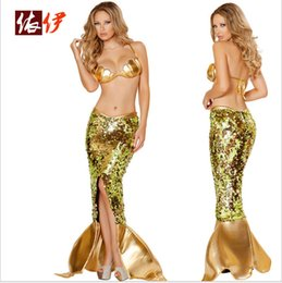 Wholesale Women s Sexy Cosplay Costume Paillette Skirt Tail The Little Mermaid Dress Uniform Dress Lingerie Adult Costume Uniforms Sexy Cosplay