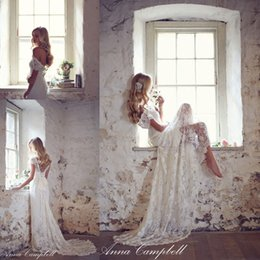 Wholesale 2015 Beach Summer Wedding Dresses A Line Lace Wedding Dresses Cap Sleeve V Neck Backless Anna Campbell Wedding Dresses Bridal Gowns