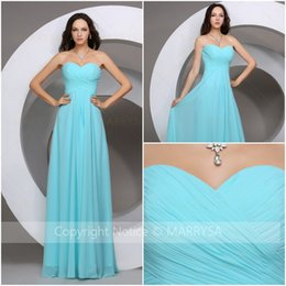 Wholesale 2016 Summer Bridesmaid Dress New Design Sweetheart Neck Georgette Pleats A Line Wedding Guest Gowns Sleeveless Zipper In Stock Prom Dresses