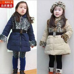 Wholesale 2014 Winter new style children down coat leopard print girdling girl dust coat Inner pressure cotton color kids Cotton clothes GR44