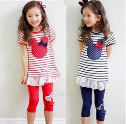 Wholesale Girls Minnie Mouse Clothing Set Short Sleeve Cartoon Stripe Minnie Set with Bow Kids Girls Suits Shirt Dress with Lace Leggings Colors